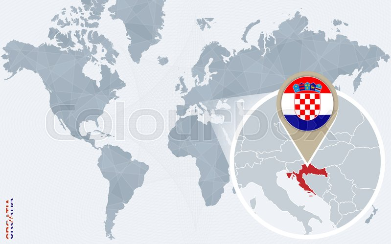 Abstract blue world map with magnified croatia croatia flag and map abstract blue world map with magnified croatia croatia flag and map vector illustration vector gumiabroncs Image collections
