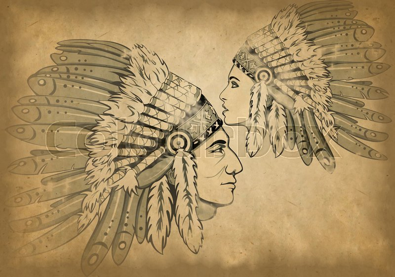 Stock image of 'Faces of man and woman with traditional headdresses on old paper'