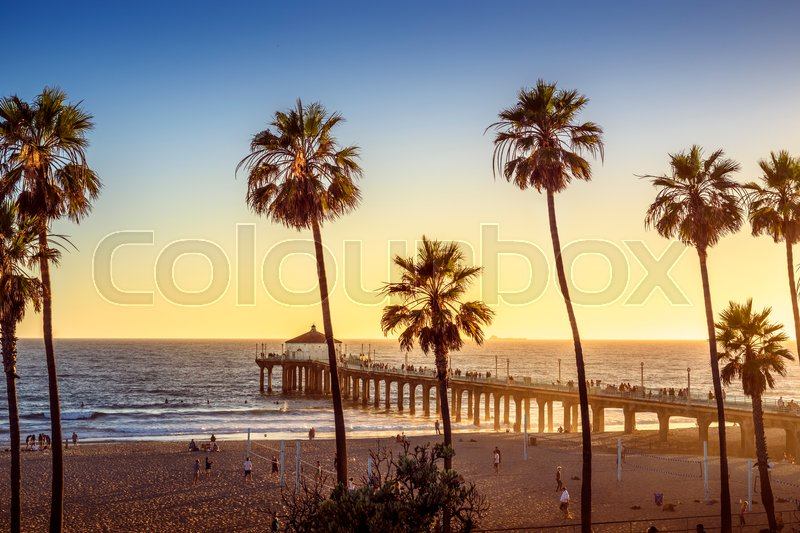 Manhattan Beach Pier At Sunset Los Stock Image Colourbox