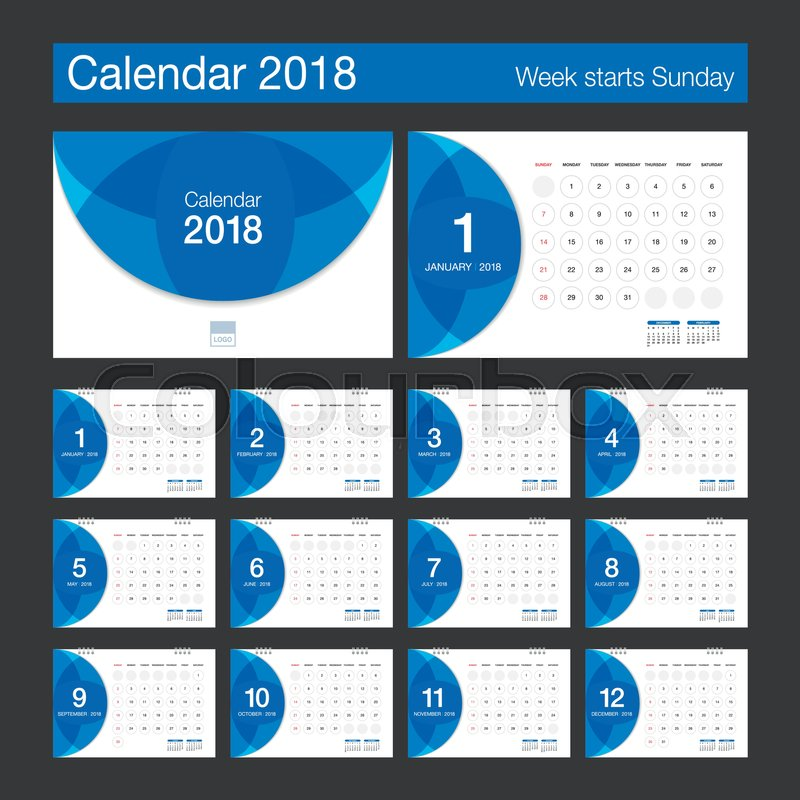 2018 calendar desk calendar modern design template week starts sunday vector illustration vector