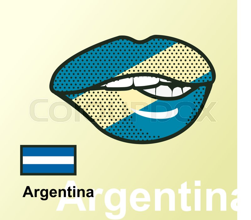 Vector Illustration Of Lip Painted Argentina Flag Isolated Foreign
