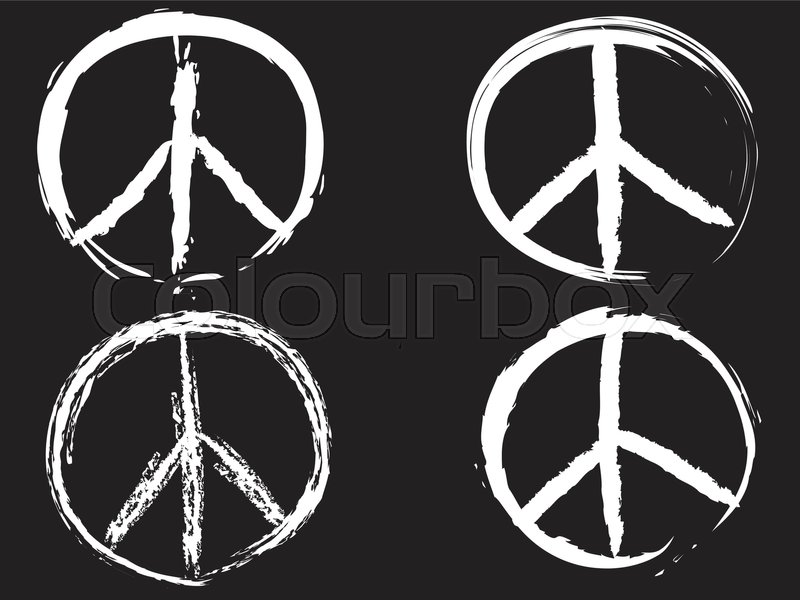 Isolated White Doodle Peace Symbol From Black Background Stock