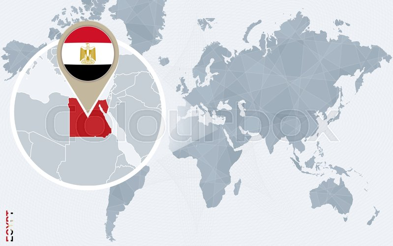 Abstract blue world map with magnified egypt egypt flag and map abstract blue world map with magnified egypt egypt flag and map vector illustration vector gumiabroncs Gallery