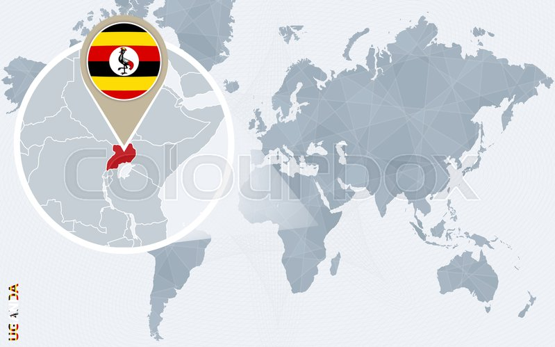 Abstract blue world map with magnified Uganda. Uganda flag and map ...