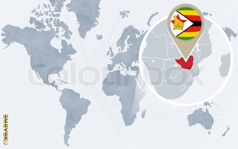Abstract blue world map with magnified zimbabwe zimbabwe flag and abstract blue world map with magnified zimbabwe zimbabwe flag and map vector illustration vector gumiabroncs Images