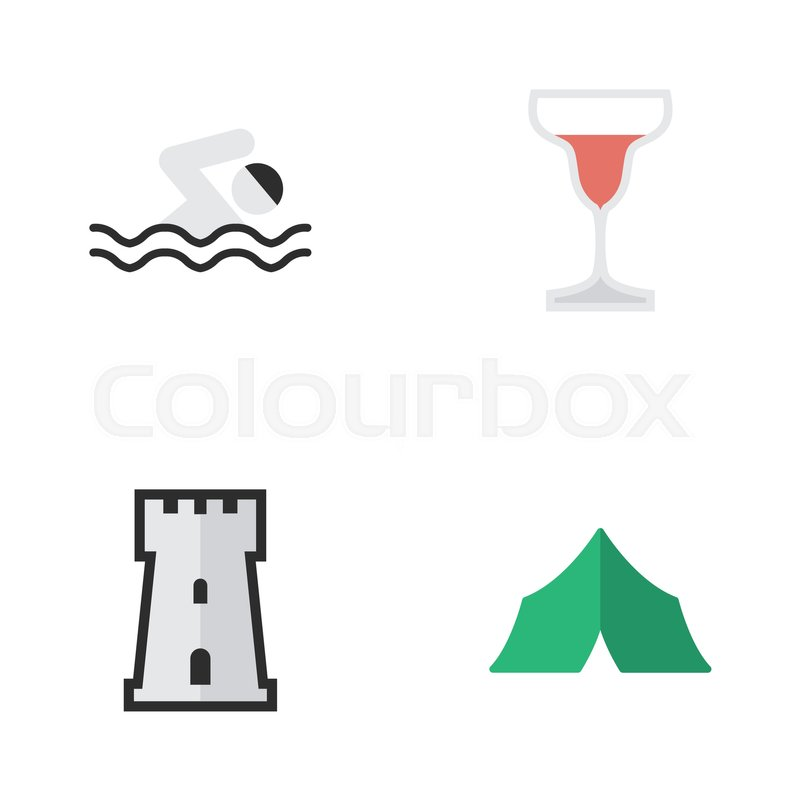 Elements Wine Tower C&ing And Other Synonyms Defence Tent And Tower. Vector Illustration Set Of Simple Holiday Icons. | Stock Vector | Colourbox  sc 1 st  Colourbox & Elements Wine Tower Camping And Other Synonyms Defence Tent And ...