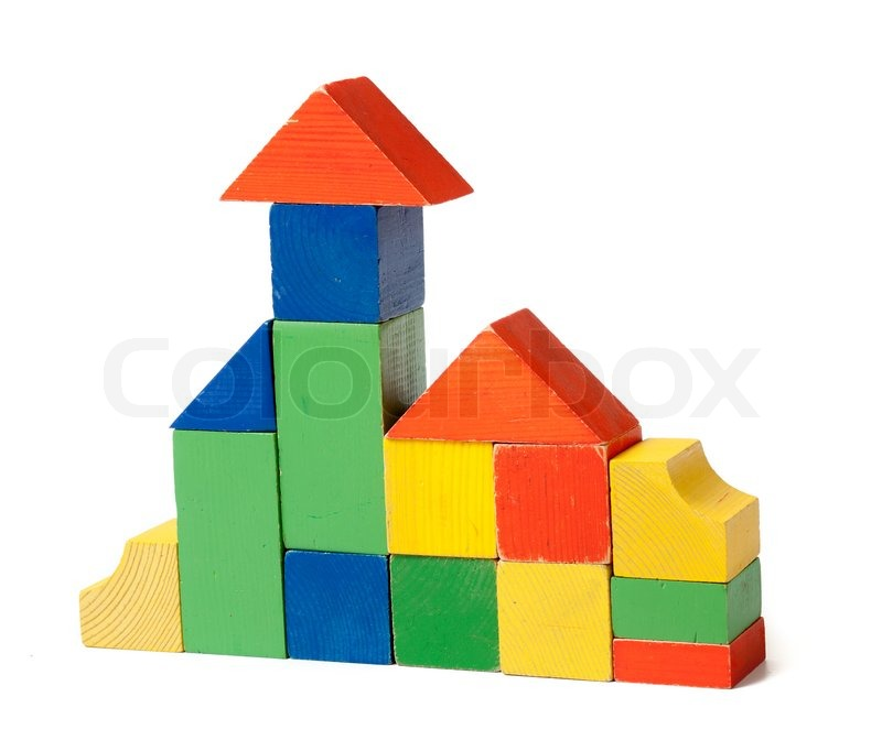Simple house made from colorful wooden building blocks for Simple home structure