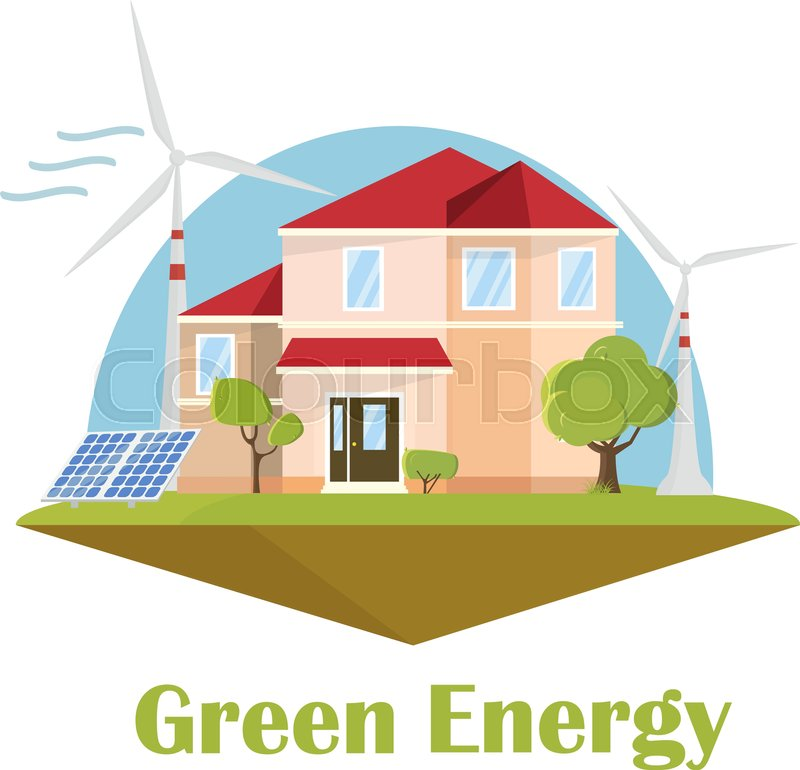 Eco House. Solar Wind Energy. Green Energy Concept. Ecology Flat Design  Building Isolated, Vector