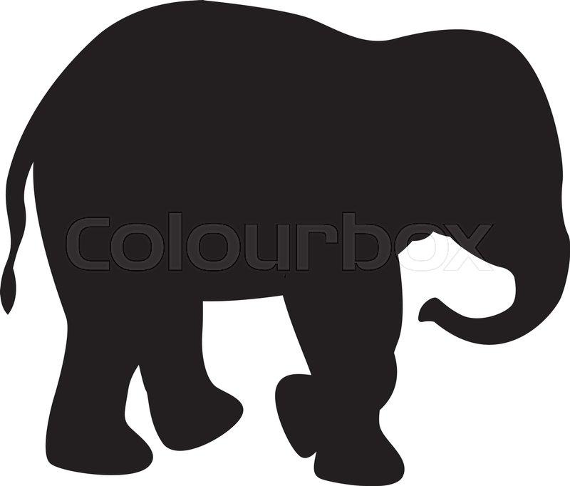 elephant black silhouette vector illustration side view stock rh colourbox com elephant silhouette vector free download Elephant Silhouette Trunk Up