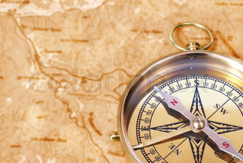 Ancient Compass On The Grunge Old Map Stock Photo Colourbox