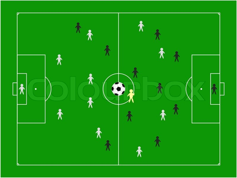 Football pitch with teams illustration | Stock Photo ...