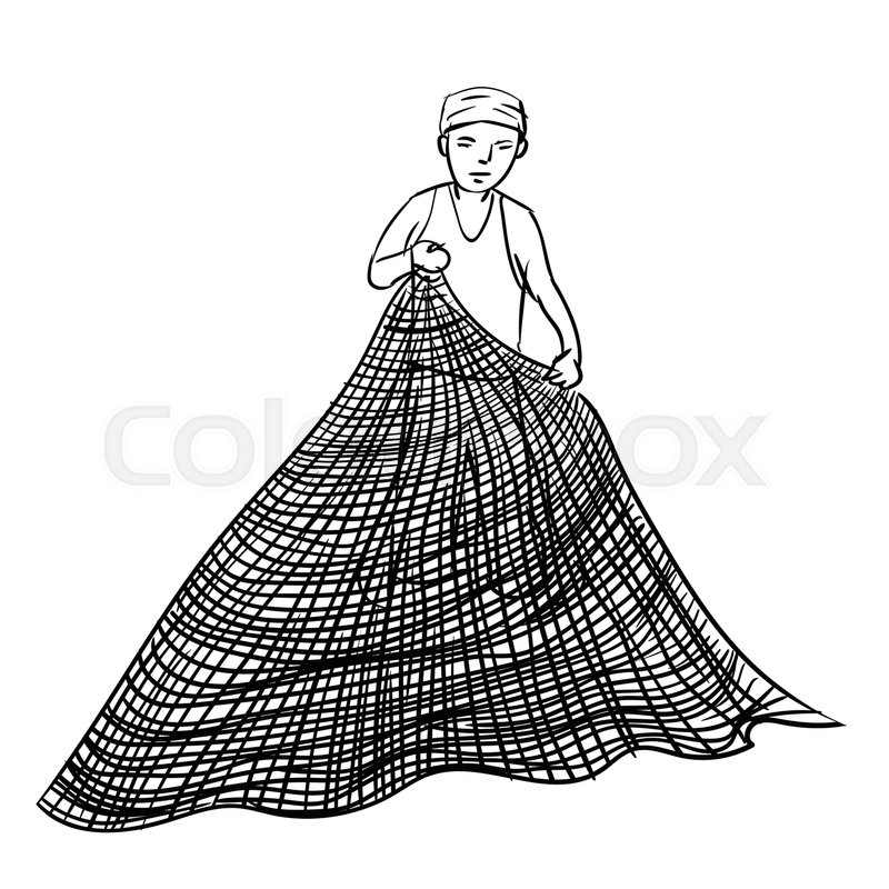 Hand Drawn Sketch Of Fisherman Using Net Black And White Simple Line Vector Illustration For Coloring Book