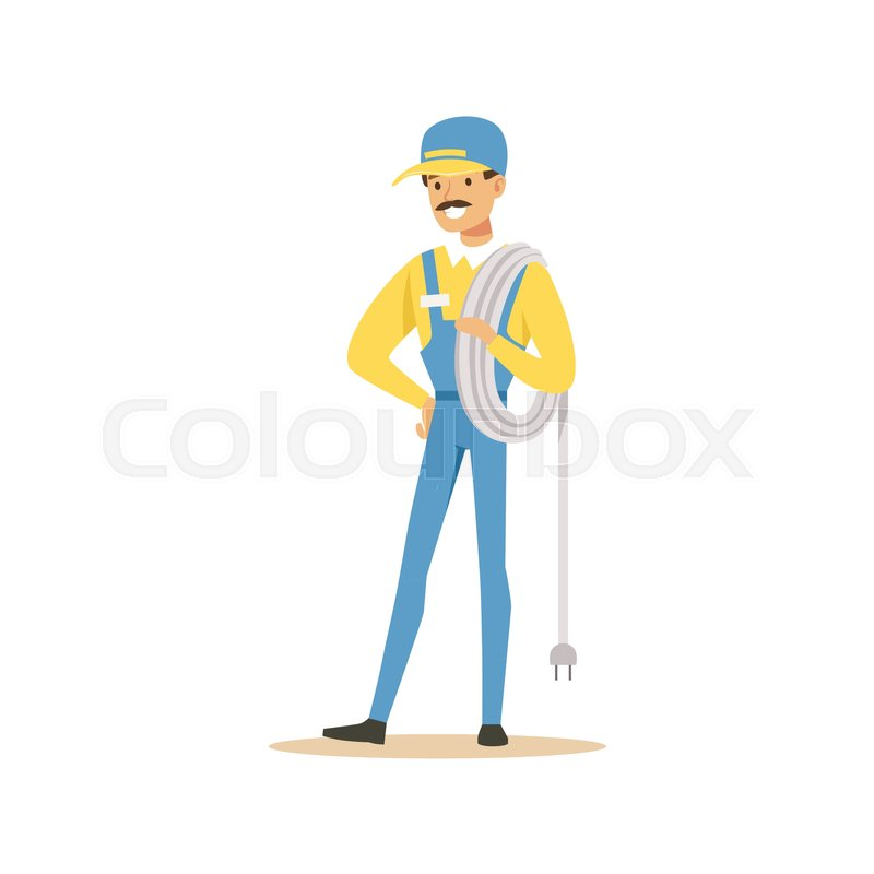 Professional electrician man character standing with wire roll ...