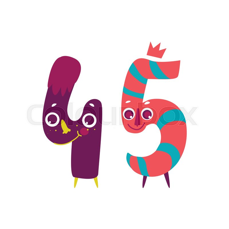 Vector Cute Animallike Character Number Forty Five Flat Cartoon