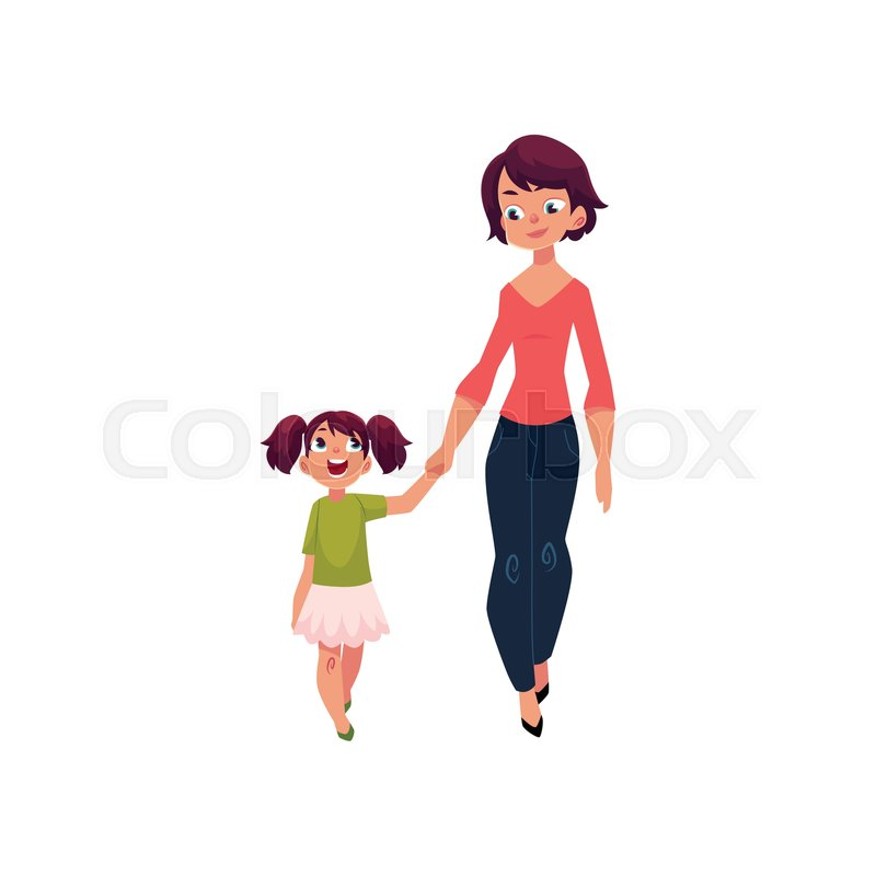 Mom And Daughter Little Girl Walking With Her Mother Holding Hands And Talking Cartoon Vector