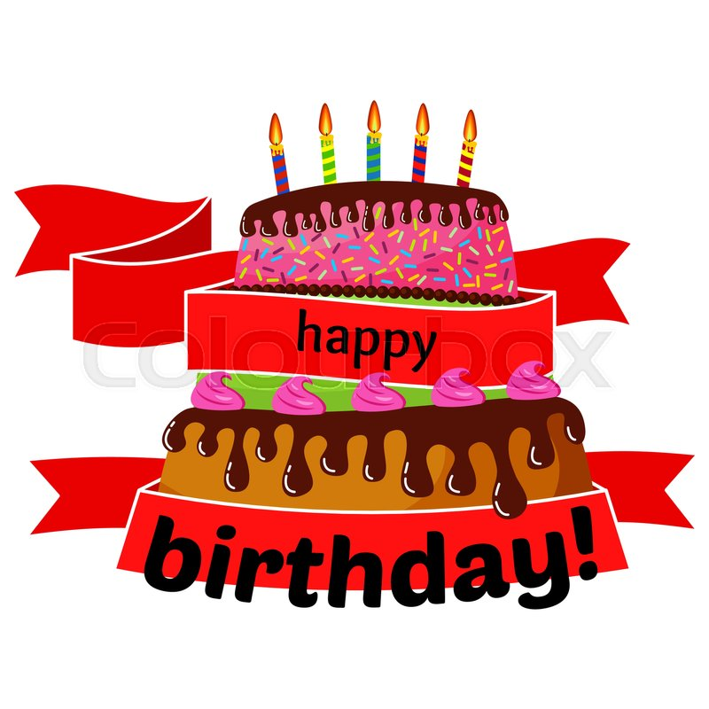 Sweet Birthday Cake Wrapped In Red Ribbons With Five Burning Candles