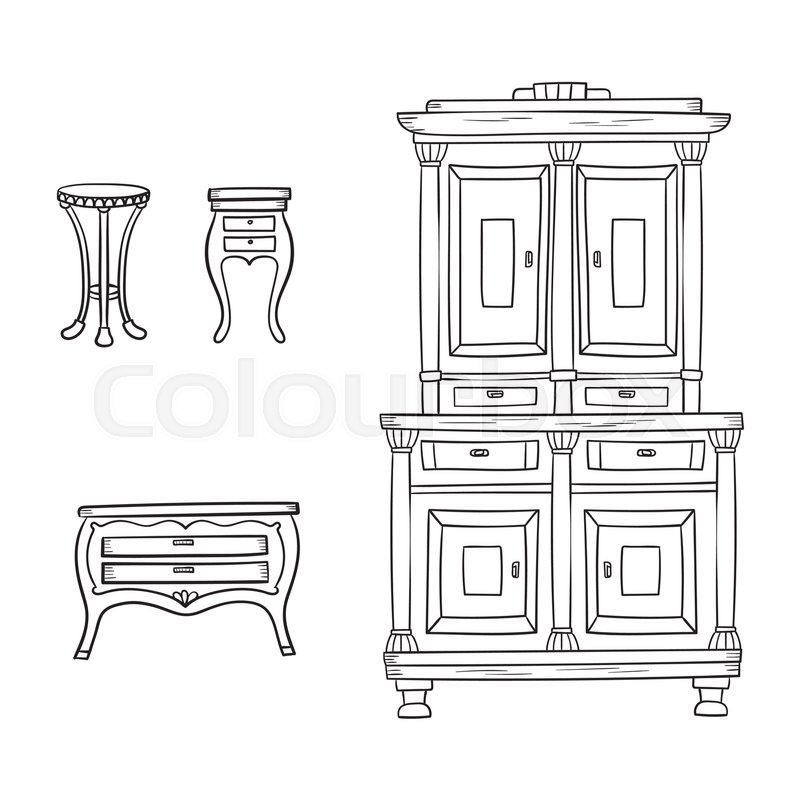Antique Furniture Set: Closet, Nightstand And Bureau Isolated On A White  Background. Vector Drawing Lines. | Stock Vector | Colourbox
