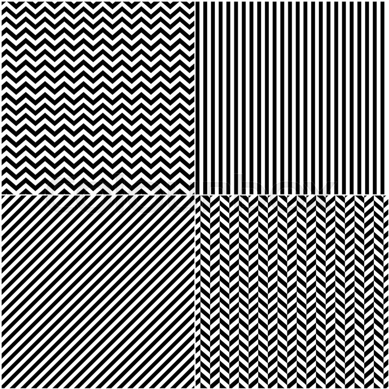 Four classic black_and white lines seamless patterns