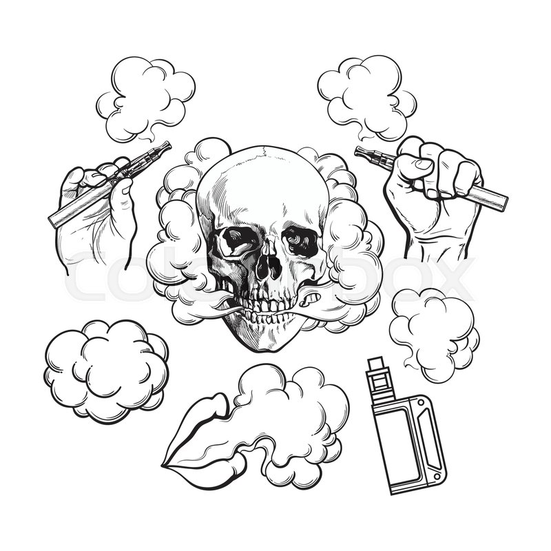 vaping related elements symbols smoke skull vaporizer e cigarette black and white sketch vector illustration isolated on background