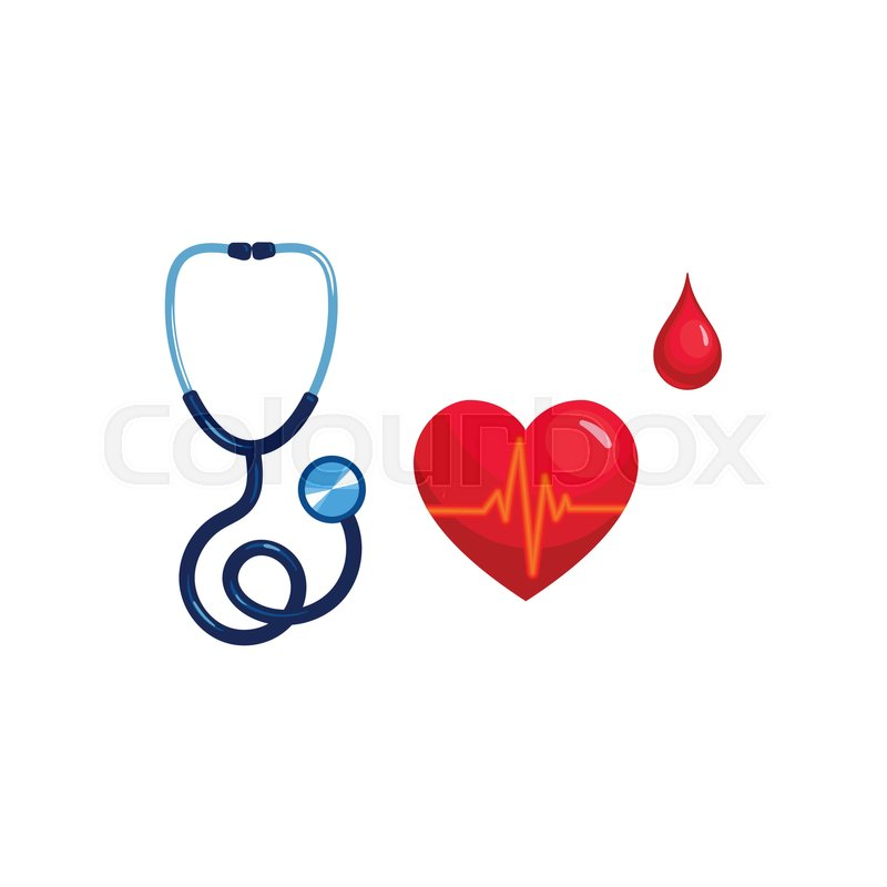 Vector Realistic Stethoscope Heart Pulse And Blood Drop Set
