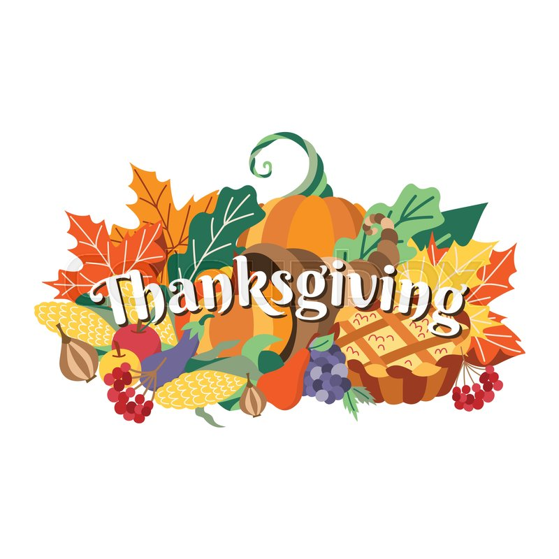 Group Of Thanksgiving Symbols Food Decoration Elements Horn Of