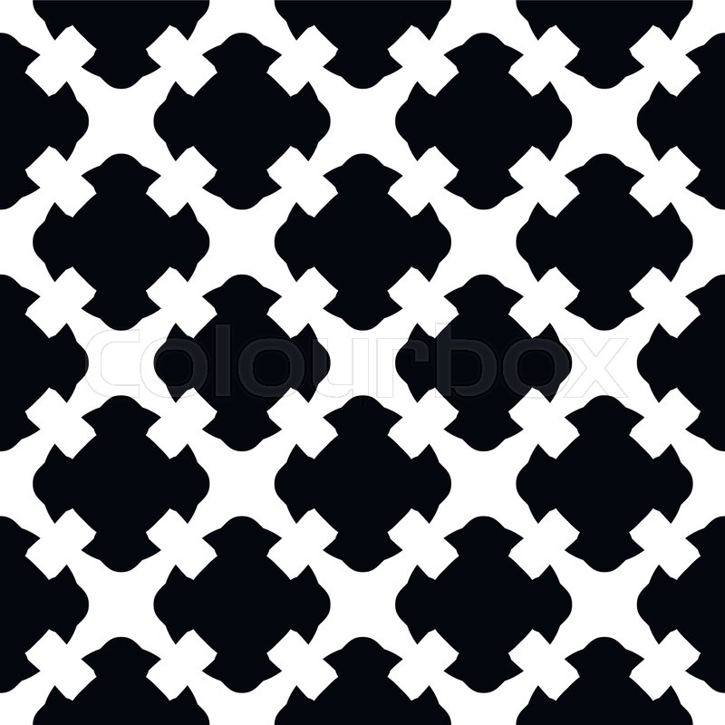 Vector Seamless Pattern Simple Black White Geometric Texture Endless Ornamental Background Retro Gothic Style Symmetric Square Abstract Backdrop