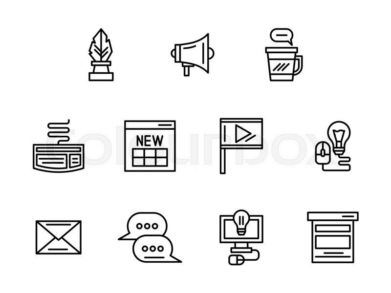 Symbols Of Web Blog Blogging Posts Creative Ideas And Content