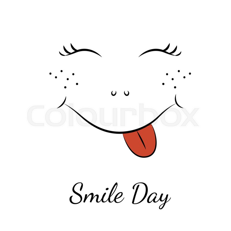 Smile Day Symbol Element Cartoon Character Smiley Face With Red