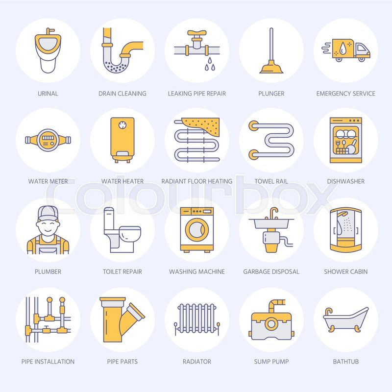 Stock Vector Of U0027Plumbing Service Vector Flat Line Icons. House Bathroom  Equipment, Faucet