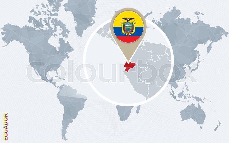 abstract blue world map with magnified ecuador ecuador flag and map vector illustration vector
