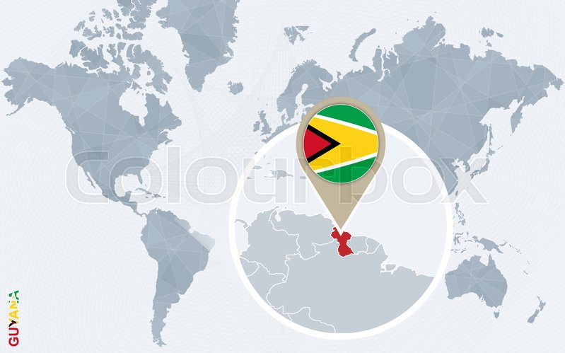 Abstract Blue World Map With Magnified Guyana Guyana Flag And Map