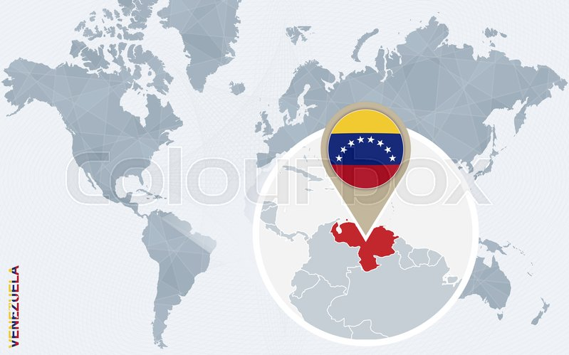Abstract blue world map with magnified Venezuela. Venezuela flag and ...