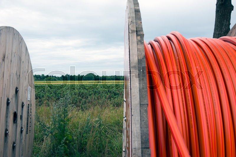 Laesoe Denmark July 27 2017 Fiber Optic Cable For Fast