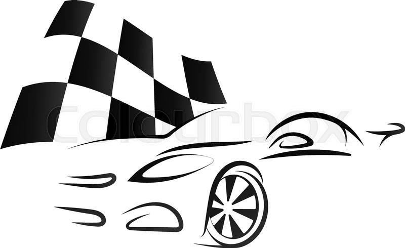 Design Sport Car And Checkered Flag Silhouette Stock Vector