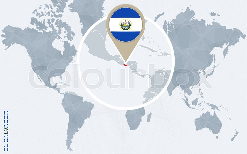 Abstract blue world map with magnified el salvador el salvador flag abstract blue world map with magnified el salvador el salvador flag and map vector illustration vector gumiabroncs Gallery
