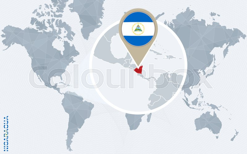 Abstract blue world map with magnified Nicaragua. Nicaragua flag and ...