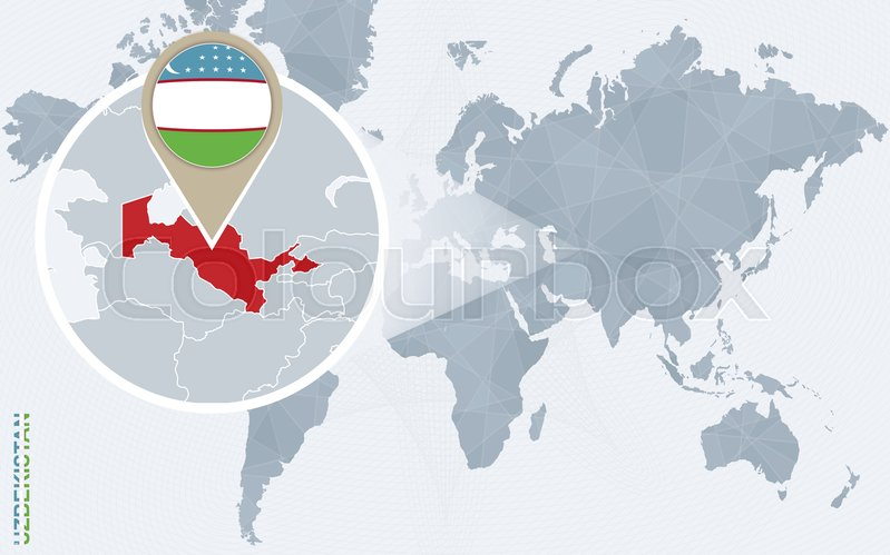 Abstract blue world map with magnified uzbekistan uzbekistan flag abstract blue world map with magnified uzbekistan uzbekistan flag and map vector illustration vector gumiabroncs Images