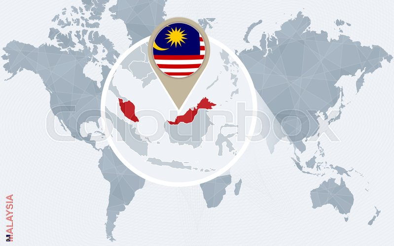 Abstract blue world map with magnified malaysia malaysia flag and abstract blue world map with magnified malaysia malaysia flag and map vector illustration vector gumiabroncs Choice Image