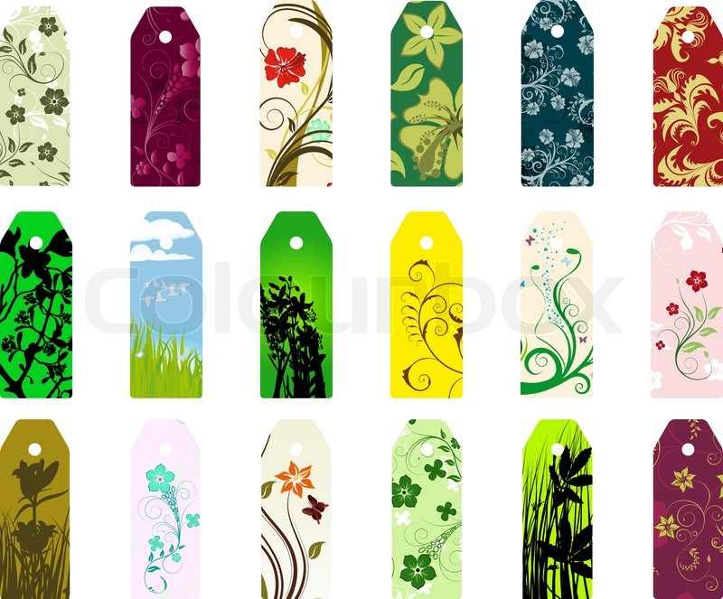set of different vector floral bookmarks for design use stock vector colourbox