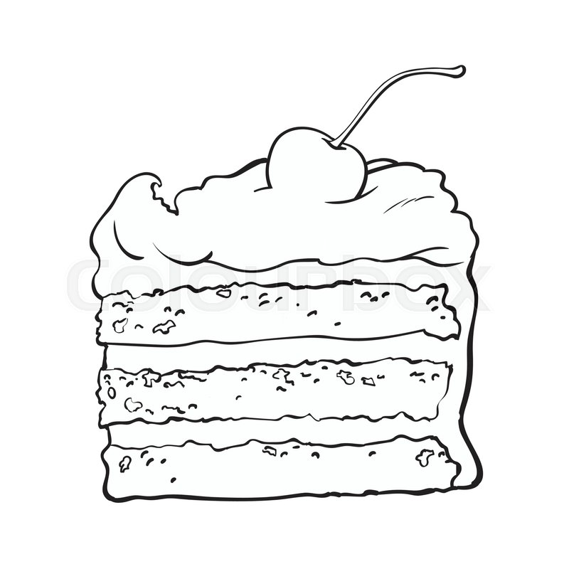 black and white hand drawn piece of classic layered cake