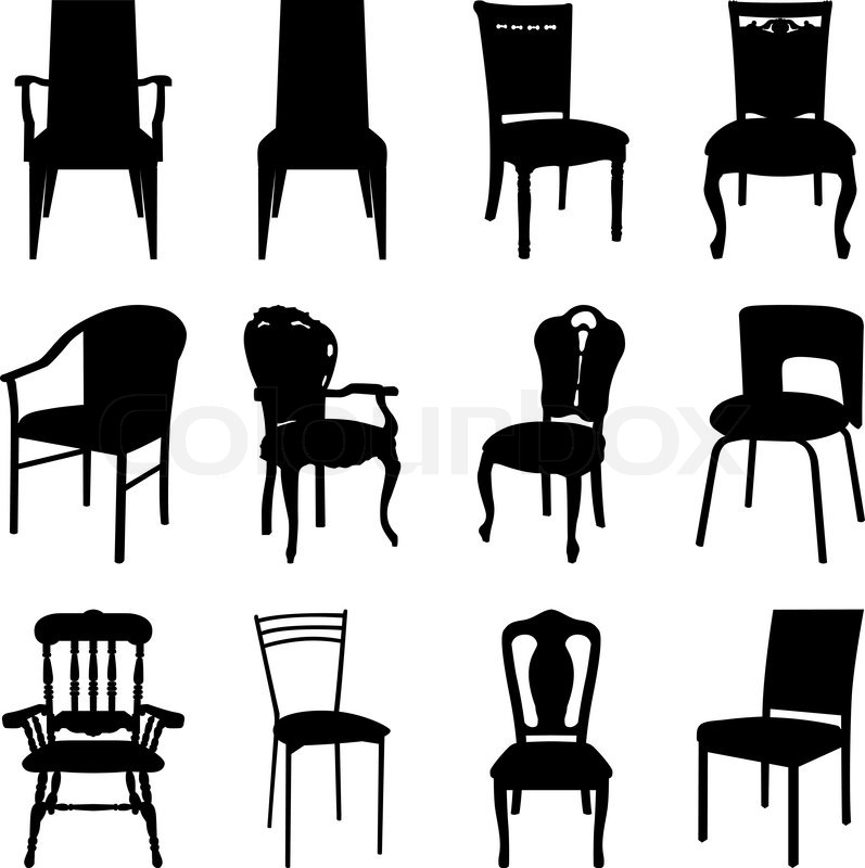 Collection Of Different Chairs Silhouettes Vector