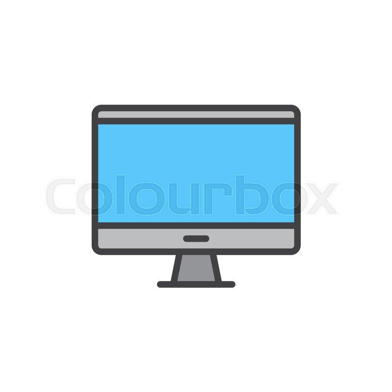 Desktop Computer Monitor Filled Outline Icon Line Vector Sign