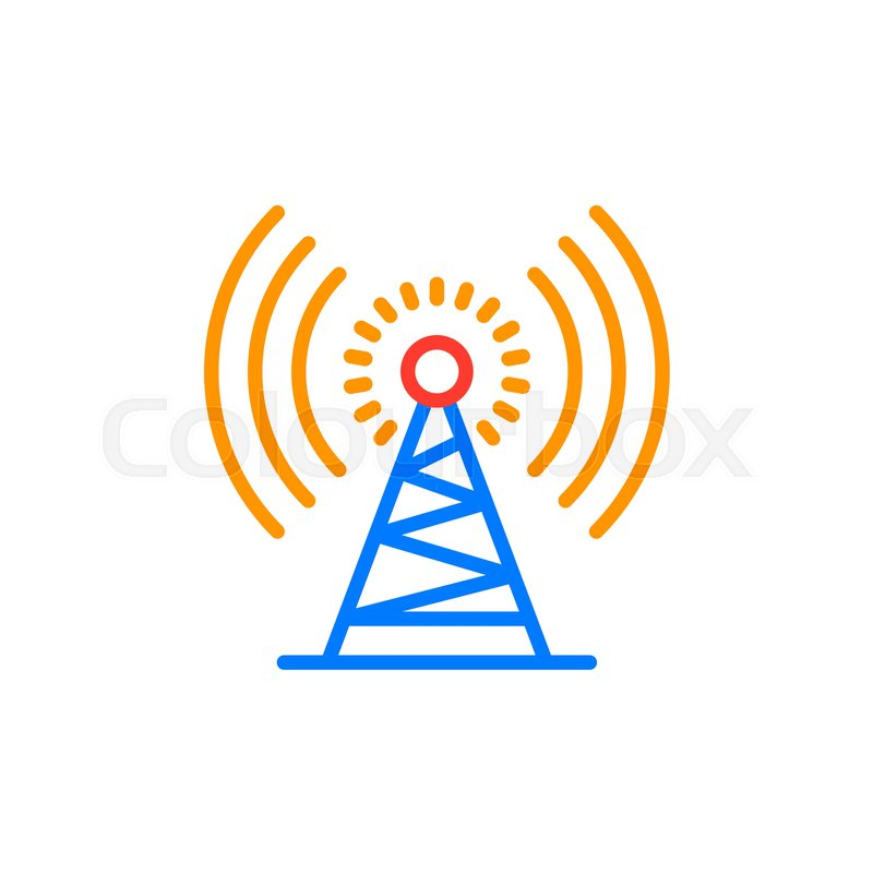 Antenna tower outline icon, line     | Stock vector | Colourbox