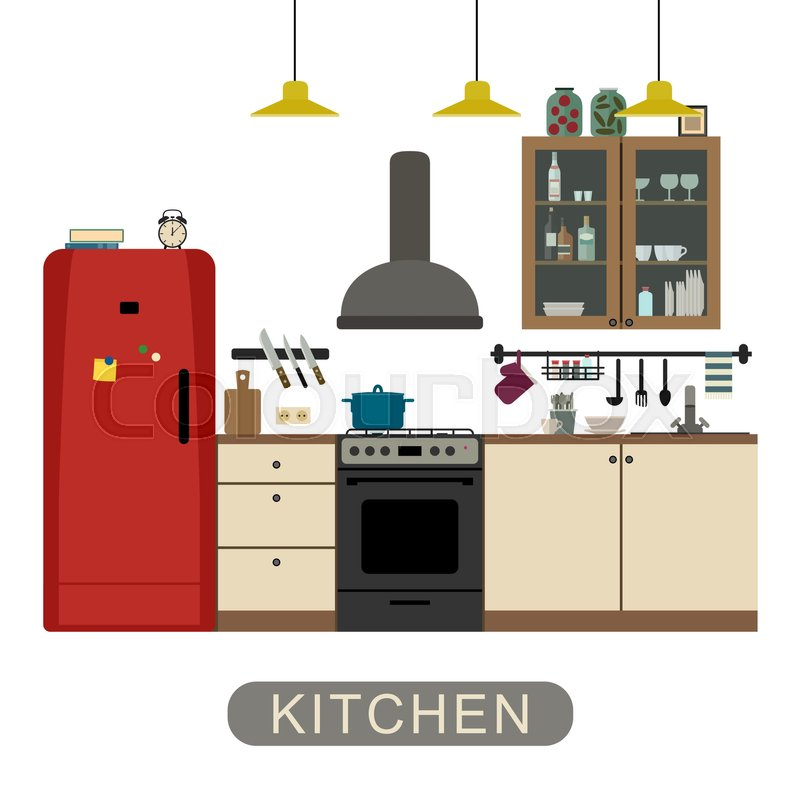 Kitchen Interior With Furniture And Equipment Vector Banner Of