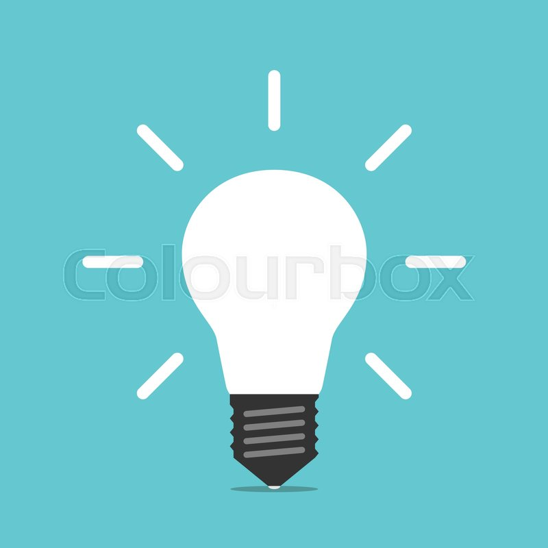 Bright White Glowing Light Bulb On Turquoise Blue Background Energy Idea Creativity And Moment Of Insight Concept Flat Design EPS 8 Vector Illustration
