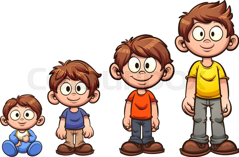 Cartoon boy growing up. Vector clip art illustration with simple gradients. Each  on a separate layer d2e5e59f8