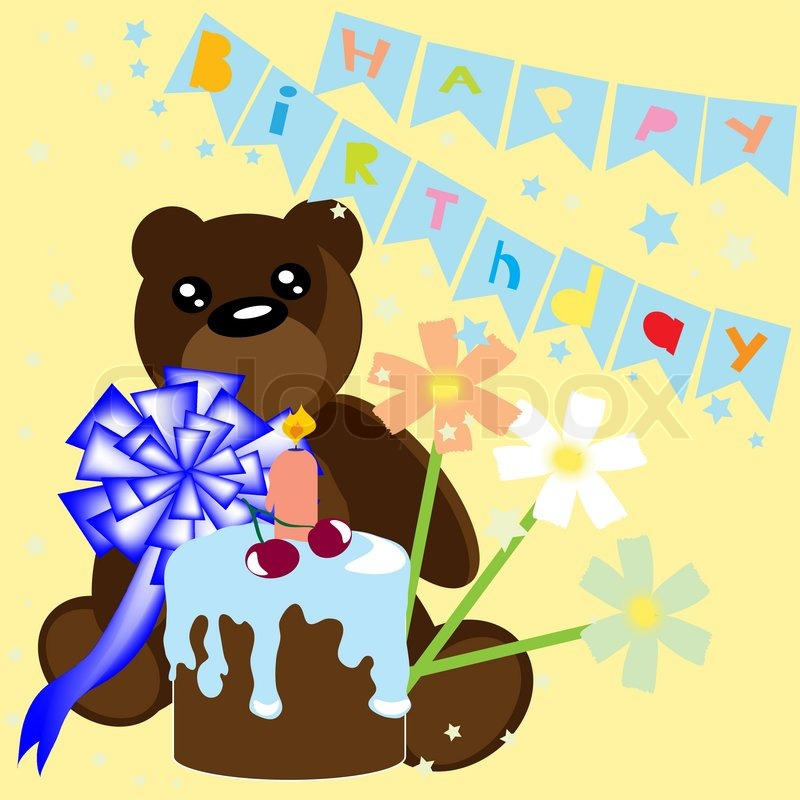 Happy Birthday Card With Bear And Cake Vector Illustration Stock