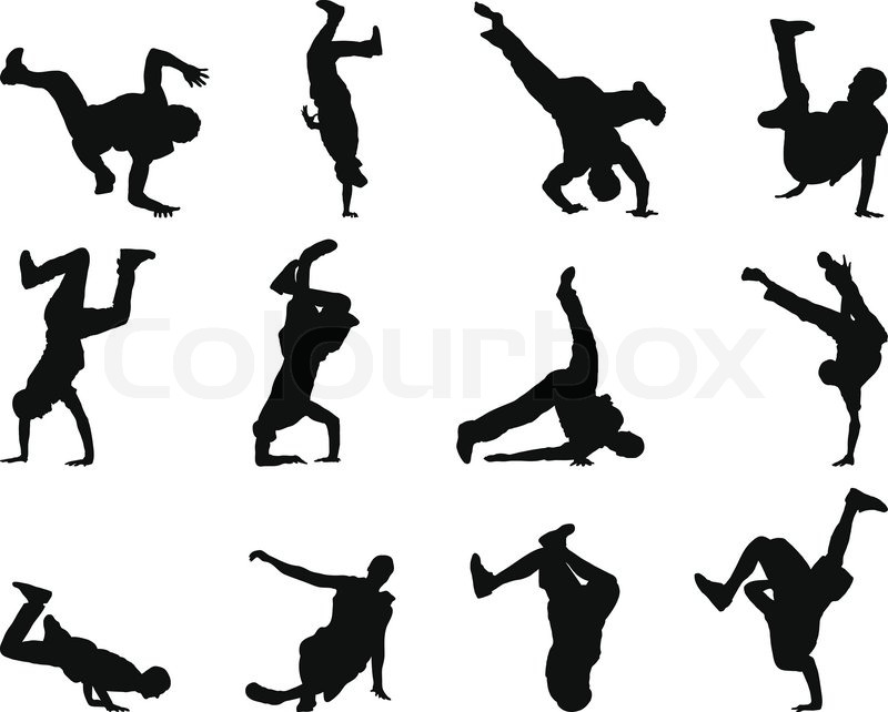 Collection of different break-dance silhouettes Vector ...