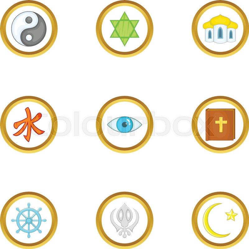 Different Religion Icons Set Cartoon Set Of 9 Different Religion