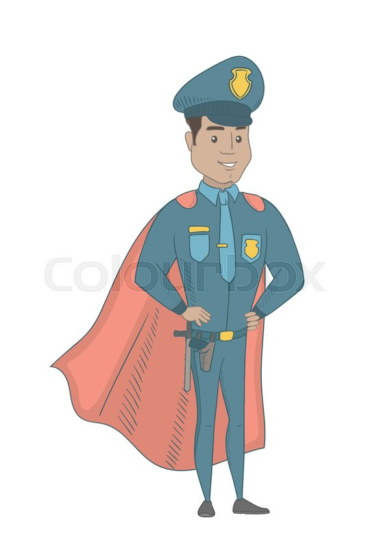 Hispanic policeman wearing red     | Stock vector | Colourbox